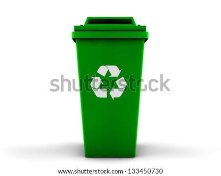 3d recycle bin - stock photo
