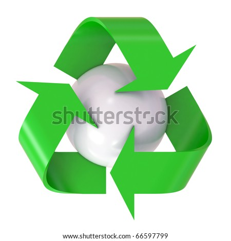3d recycle logo with globe symbol - stock photo
