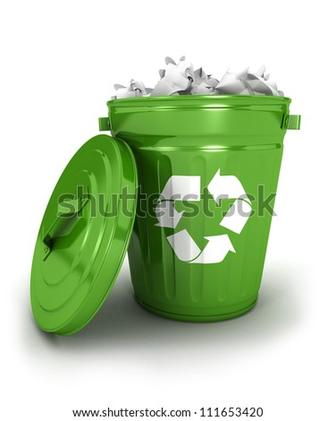 3d recycle trash can icon with papers, isolated white background, 3d image - stock photo