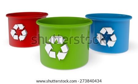 3D. Recycling, Recycling Bin, Recycling Symbol. - stock photo