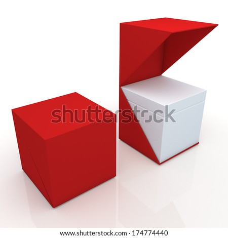 3d red and clean white box open ready 2 pieces packaging blank template in isolated with clipping paths, work paths included  - stock photo