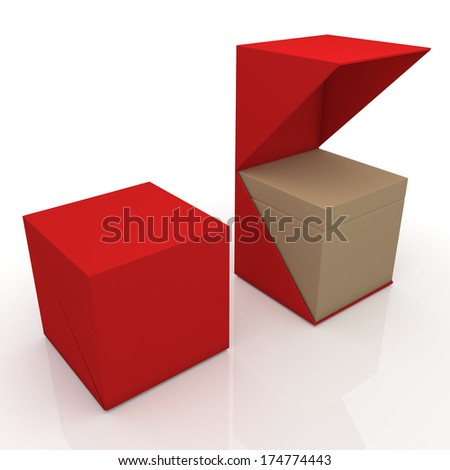 3d red and original brown box open ready 2 pieces packaging blank template in isolated with clipping paths, work paths included