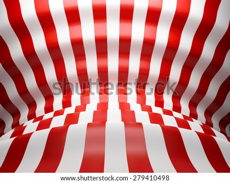 3D Red and white wave lines background with glossy reflects - stock photo