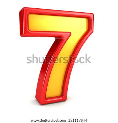 3d red and yellow number - 7 - stock photo