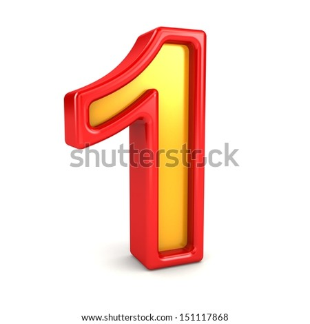 3d red and yellow number - 1 - stock photo
