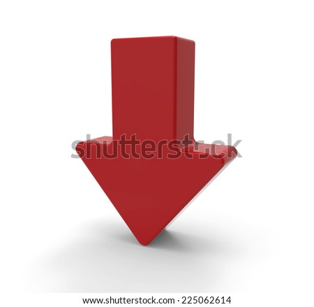 3d red arrow, downwards - stock photo