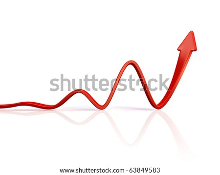 3d red arrow in business graph - stock photo