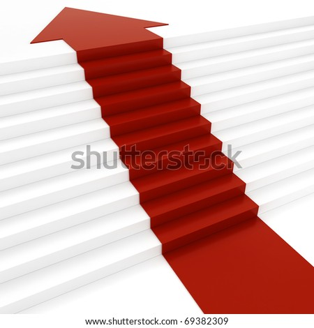 3d red arrow on white stair - stock photo