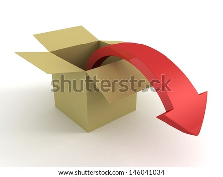 3d red arrow out from opened delivery box - stock photo