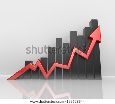 3d red arrow, positive statistics - stock photo