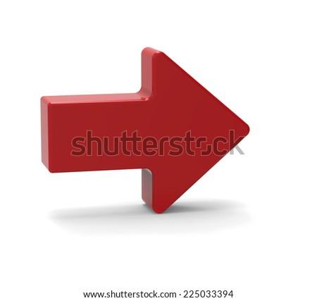3d Red arrow symbol - stock photo