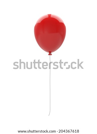 3d red balloon isolated on white background - stock photo