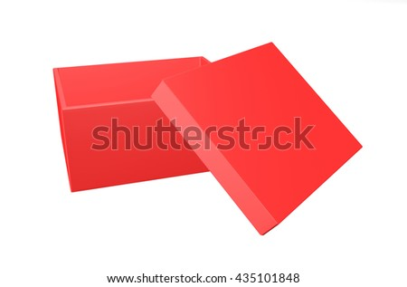 3d red Blank box on white background