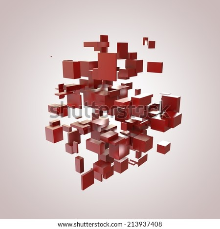3D Red Blocks Hi-Tech Background - stock photo