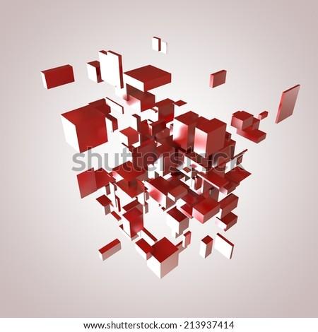 3D Red Blocks Hi-Tech Background - stock photo