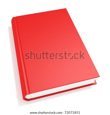 3d red book isolated on white background