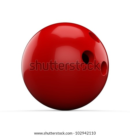 3d Red Bowling Ball on white background - stock photo