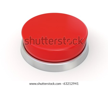 3d red button isoladed on white background