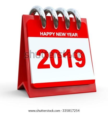 3D Red Calendar 2019 - stock photo