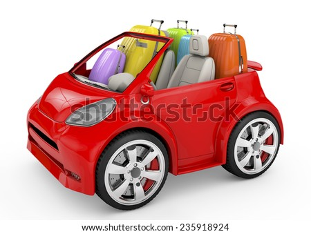 3d red car and suitcases -travel concept - stock photo