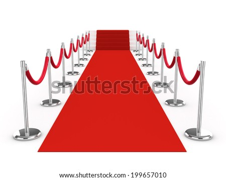 3d red carpet and ropes - stock photo