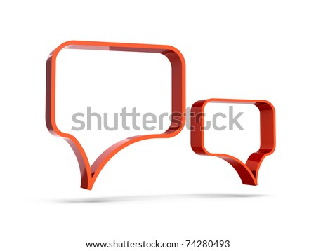 3d red chat icons - stock photo
