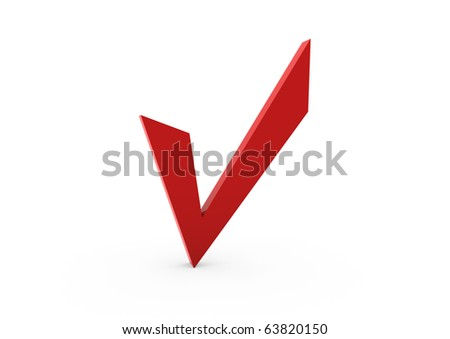 3d red check isolated on white background - stock photo