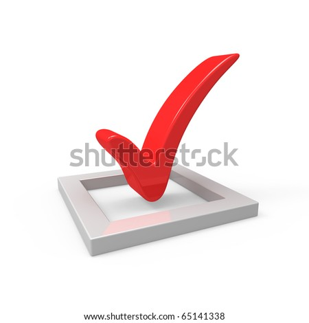 3D red  check mark sign - stock photo