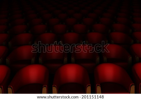 3d red cinema chairs