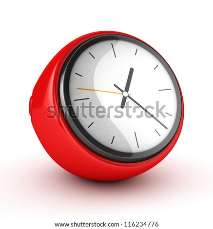 3D Red Clock isolated