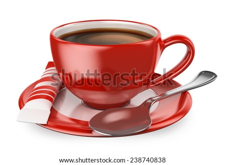 3d red cup of coffee with sugar and spoon. Isolated white background. - stock photo