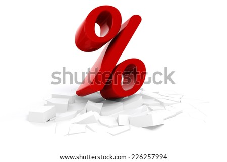 3d red discount percent text on white background - stock photo