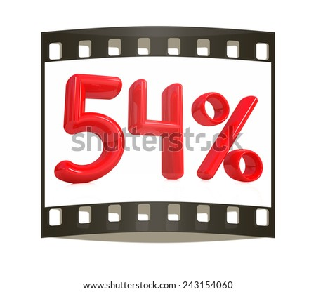 """3d red """"54"""" - fifty four percent on a white background. The film strip - stock photo"""
