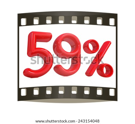 """3d red """"59"""" - fifty nine percent on a white background. The film strip - stock photo"""