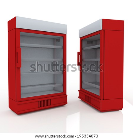 3D red fridge for drink products or beverage in isolated background with work paths, clipping paths included - stock photo