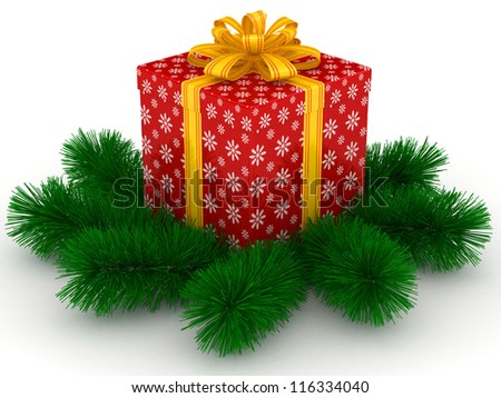 3D red Gift christmas box with yellow bow and sprigs of christmas tree on the white - stock photo