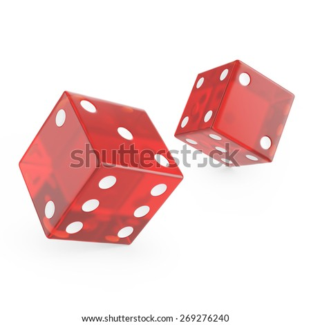 3d red glass dice isolated on white background. - stock photo