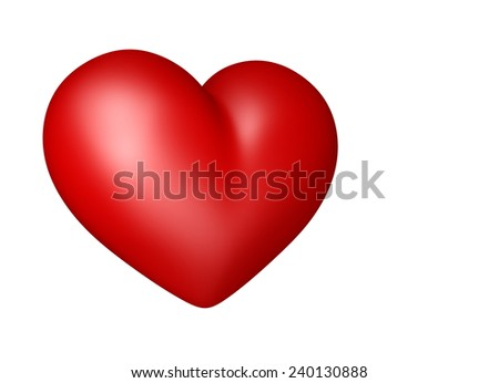 3D Red heart color, Icon object isolated