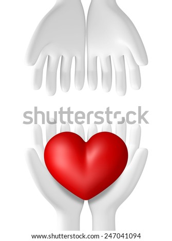3D Red Heart in hands, illustration object isolated  - stock photo