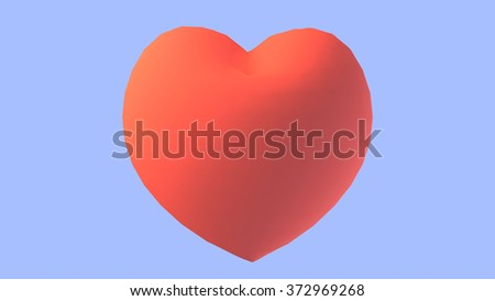 3d red heart love shape object on purple background. Happy Valentines Day greeting card template.