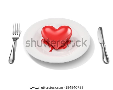 3d red heart on a plate - breakup 3d concept