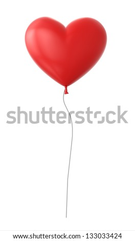 3d red heart shaped balloon isolated on white background