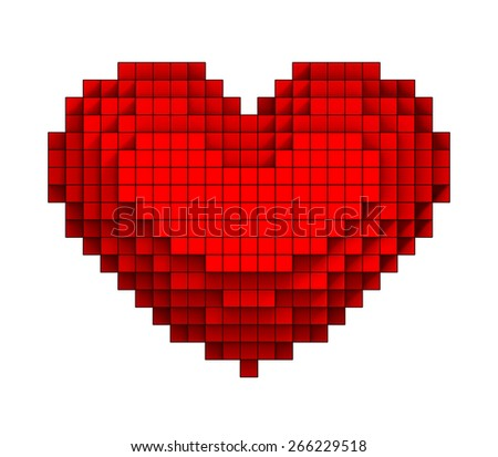 3D Red heart volumetric pixel icon, isolated - stock photo