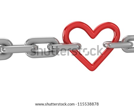 3d red heart with chains - stock photo