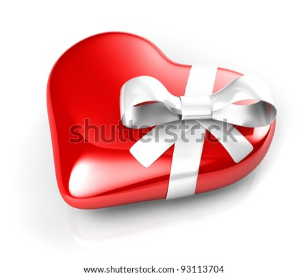 3d red heart with white ribbon - stock photo