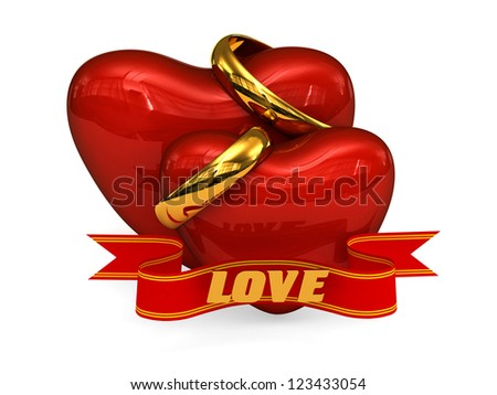 3D Red hearts with wedding rings and inscription love on a white background - stock photo