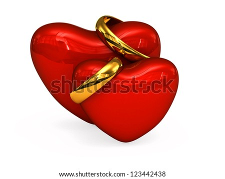 3D Red hearts with wedding rings on a white background - stock photo