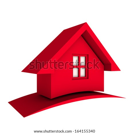3D Red House with window - stock photo