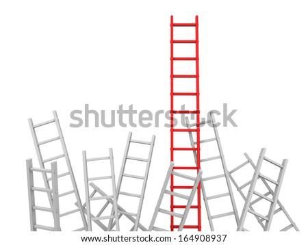 3d red ladder and white ladder/ leader/ competition