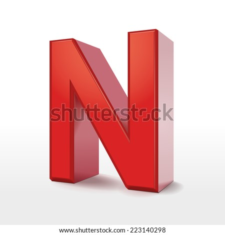 3d red letter N isolated on white background